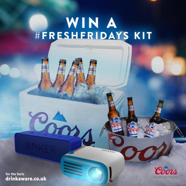 It's a #FreshFriday!  WIN one of our #FreshFridays kits in time for the next @Mixmag Lab LDN with Bec on Friday at 6pm!!   To enter just tell us how you get ready for the weekend!  #FreshFridays #CoorsBeer #CoorsFresh   Terms and Conditions: 18+, GB only. Opens Friday 4th June & closes Tuesday 8th June at 12pm, 1 entry per persons Instagram, Twitter, Facebook account. Prize: 1 x Fresh Friday Kit (4 x 330ml bottles of Coors, cooler, mini disco light, bluetooth speaker, portable projector takeaway vouchers, branded stickers). 1 prize to be won, 1 prize per winner. Full T&Cs apply: (Link in our bio)