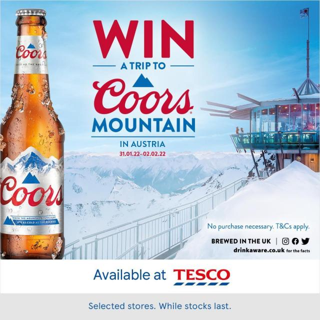 Keep It Fresh! Win a trip to Coors Mountain with Coors & Tesco. Visit [https://bit.ly/3hG0jPE] for details on how to enter and T&Cs (Link in our bio).  Also available via Budgens, One Stop & Londis.   #CoorsFresh #Coors